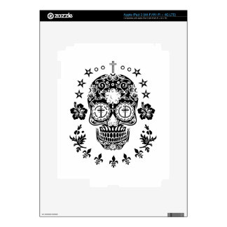 Sugar Skull and Cross with Fleur De Lis Decals For iPad 3