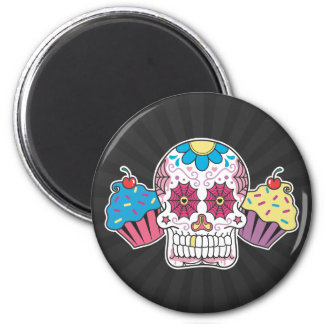 Sugar Skull and Cupcakes 2 Inch Round Magnet