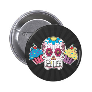 Sugar Skull and Cupcakes 2 Inch Round Button