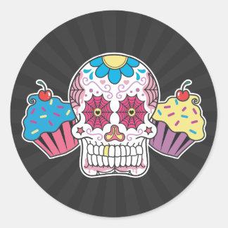 Sugar Skull and Cupcakes Classic Round Sticker