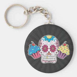 Sugar Skull and Cupcakes Keychain