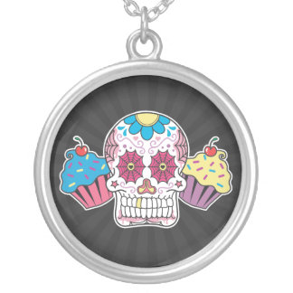 Sugar Skull and Cupcakes Silver Plated Necklace