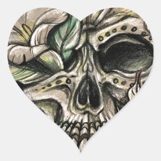 Sugar skull and lilies heart sticker