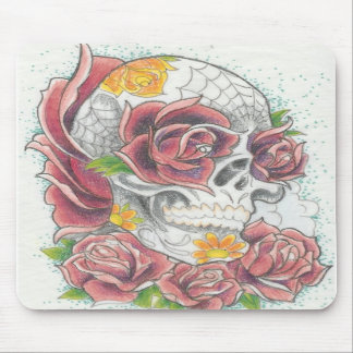 Sugar skull and rose mouse pad by Dana Tyrrell