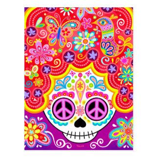 Sugar Skull Art Postcard -Day of the Dead Girl