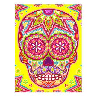 Sugar Skull Art Postcard - Skull with Mustache