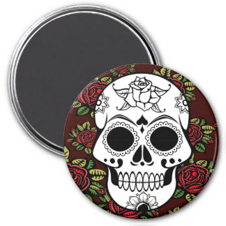 Sugar skull art retro red roses fridge magnet