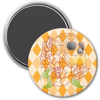 Sugar skull art retro yellow argyle fridge magnet