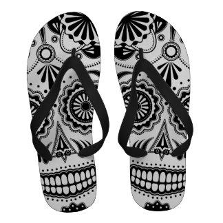 Sugar Skull Aztec Art Black and White Flip-Flops