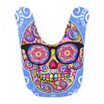 Sugar Skull Baby Bib - Skull Wearing Glasses