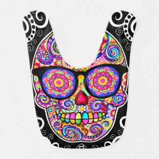 Sugar Skull Baby Bib - Skull Wearing Glasses