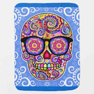 Sugar Skull Baby Blanket - Colorful Hipster Art