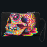 "Sugar Skull Bag - Clutch Accessory Pouch Wristlet<br><div class=""desc"">This Sugar Skull bag (clutch bag,  wristlet,  pouch,  cosmetic bag or accessory bag) features a colorful psychedelic 3-D sugar skull celebrating Mexico&#39;s Day of the Dead,  or Dia de los Muertos. The funky design for this Sugar Skull bag is based on the artwork of Thaneeya McArdle.</div>"