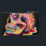 """Sugar Skull Bag - Clutch Accessory Pouch Wristlet<br><div class=""""desc"""">This Sugar Skull bag (clutch bag,  wristlet,  pouch,  cosmetic bag or accessory bag) features a colorful psychedelic 3-D sugar skull celebrating Mexico&#39;s Day of the Dead,  or Dia de los Muertos. The funky design for this Sugar Skull bag is based on the artwork of Thaneeya McArdle.</div>"""