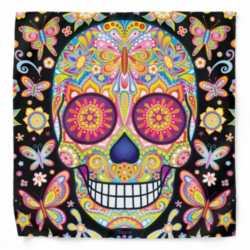 Sugar Skull Bandana - Day of the Dead Art
