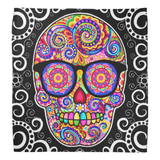 Sugar Skull Bandana -Hipster Skull Wearing Glasses