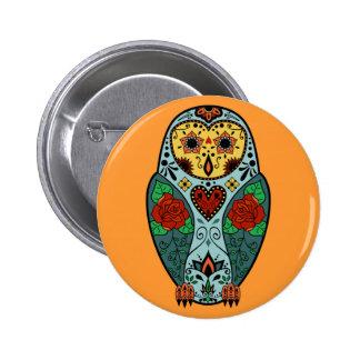 Sugar Skull Barn Owl Button