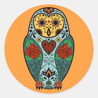Sugar Skull Barn Owl Classic Round Sticker