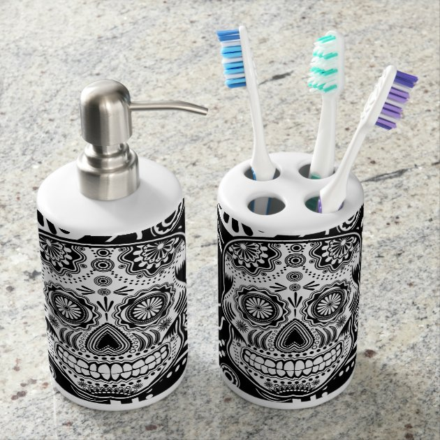 sugar skull bath set | zazzle