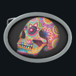 """Sugar Skull Belt Buckle - Day of the Dead Art<br><div class=""""desc"""">This Sugar Skull Belt Buckle features a colorful psychedelic 3D sugar skull calavera celebrating Mexico's Day of the Dead,  or Dia de los Muertos. The funky design for this Sugar Skull Day of the Dead Belt Buckle is based on the artwork of Thaneeya McArdle.</div>"""