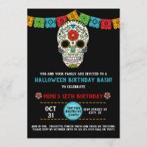 Sugar Skull Birthday, Day of the Dead, black Invitation