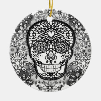Sugar Skull Black and White Ceramic Ornament