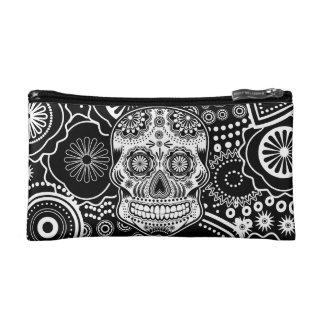 sugar skull, black and white cosmetics bags