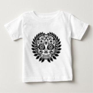 Sugar Skull Black and White Laurel Leaf Baby T-Shirt
