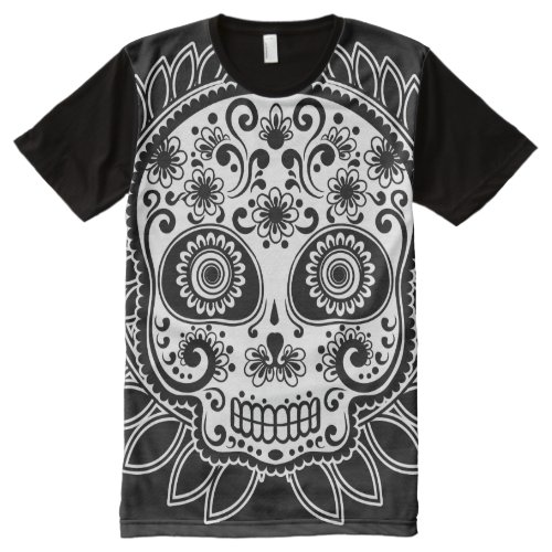 6d3c5a542 Sugar Skull Black and White Laurel Leaf All-Over Print T-shirt ...