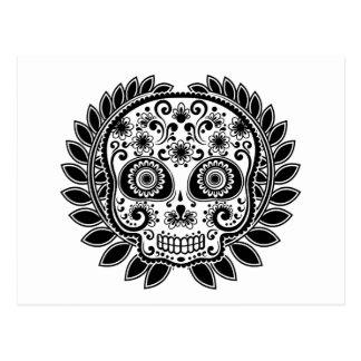 Sugar Skull Black and White Laurel Leaf Postcard