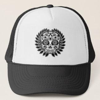 Sugar Skull Black and White Laurel Leaf Trucker Hat