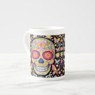 Sugar Skull Bone China Mug - Day of the Dead Art Tea Cup