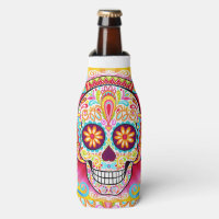 Sugar Skull Bottle Cooler - Day of the Dead Skulls
