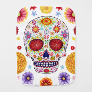 Sugar Skull Burp Cloth - Colorful Art with Flowers