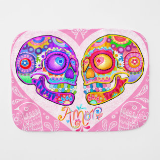 Sugar Skull Burp Cloth - Colorful Skulls in Love