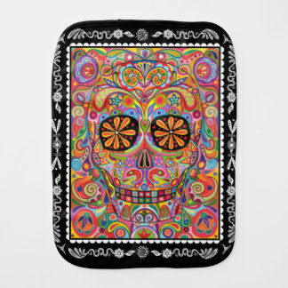 Sugar Skull Burp Cloth - Day of the Dead Art