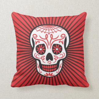 sugar skull burst black & red throw pillow