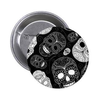 Sugar Skull BW Button