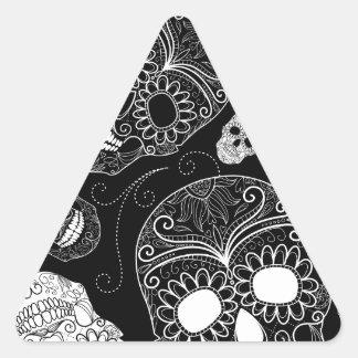 Sugar Skull BW Triangle Sticker