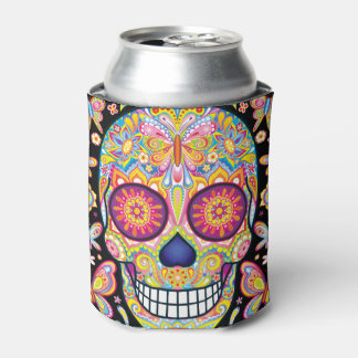 Sugar Skull Can Cooler - Day of the Dead Art