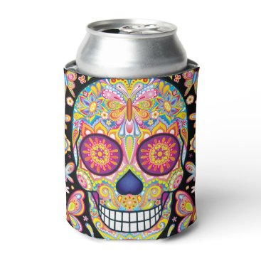 thaneeyamcardle Sugar Skull Can Cooler - Day of the Dead Art
