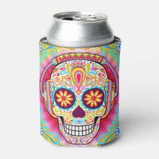 Sugar Skull Can Cooler - Day of the Dead Skulls