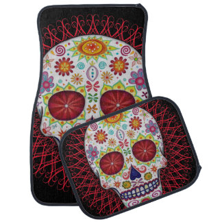 Sugar Skull Car Mats - Full Set of 4 Floor Mat
