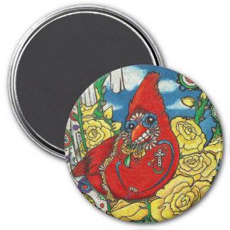 Sugar Skull Cardinal Magnet