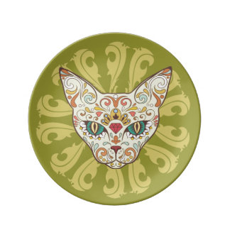 Sugar Skull Cat Face Porcelain Plate