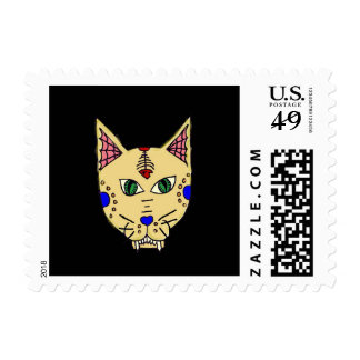 Sugar Skull Cat Stamps