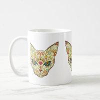 Sugar Skull Cat - Tattoo Design Coffee Mug