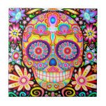 "Sugar Skull Ceramic Tile - Day of the Dead Art<br><div class=""desc"">This Colorful Sugar Skull Ceramic Tile features a colorful psychedelic calavera sugar skull surrounded by whimsical shapes and flowers, celebrating Mexico&#39;s Day of the Dead, or Dia de los Muertos. The funky design for this Day of the Dead Sugar Skull Ceramic Tile is based on the artwork of Thaneeya McArdle....</div>"