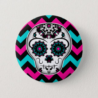 Sugar skull chevron stripes design pinback button