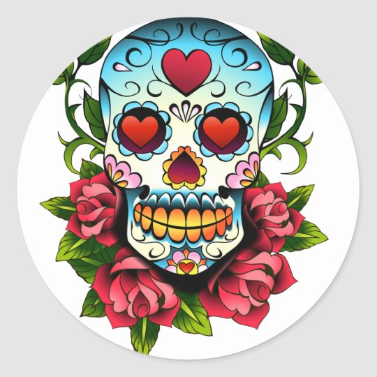 Sugar Skull Classic Round Sticker